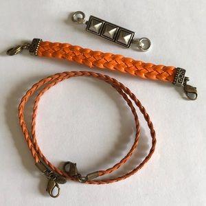 Lenny & Eva - 2 orange bracelets and a charm